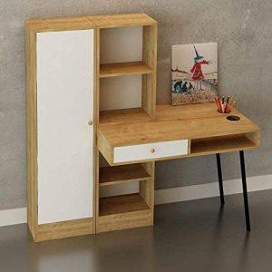 The Furniture Project Bureau en Bois avec tiroir et bibliothèques Starck - 140 x 140 cm - Beige et Blanc de la marque The Furniture Project image 0 produit