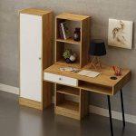 The Furniture Project Bureau en Bois avec tiroir et bibliothèques Starck - 140 x 140 cm - Beige et Blanc de la marque The Furniture Project image 1 produit