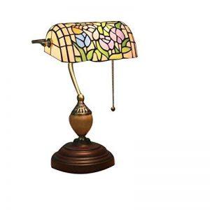 Tiffany Banque Lampe Retro Tiffany à la main Style Vitrail Lampe de Table E27, Base en alliage de zinc Lampe de bureau, Support de lampe en bakélite, VDE GJX (Conception : F) de la marque GJX image 0 produit