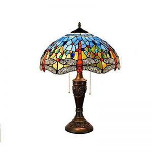 Tiffany Style 16 Inch Dragonfly Lampe De Table, Rustique Vitraux E27 Edison Decor Lampe De Table Avec Support En Alliage De Zinc Pour Chambre À Coucher, Chevet, Bureau, Cafe 220V Max. 60W,#2 de la marque OOFAY Lights image 0 produit