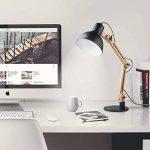 Tomons Décoration Lampe de Table LED Lampe de Bureau Salon Design Original Lampe en Bois Architecte Moderne Réglable Luminaire Industrielle à Poser, Noire de la marque Tomons image 4 produit