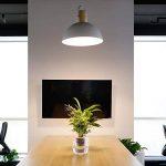 Tomons Lampe de Plafond LED Plafonnier en Métal et Bois, Suspensions Lustre d'éclairage Style Moderne Simple en Forme d'Hémisphère Blanc, l'Abat-jour 40 cm pour Maison Chambre Séjour Cuisine Restaurant Salle de bain – PL1005 de la marque tomons image 1 produit