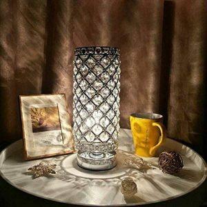Tomshine Lampe de Table en Cristal,Cristal de Mode créatif Abat-Jour Lampe de Chevet Lampe de Table Argent pour la Commode de bibliothèque Salon Chambre hôtel (Pas d'ampoule) de la marque Tomshine image 0 produit