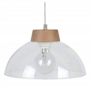 Tosel 14440 Suspension Demi Sphère Verre/Bois 60 W E27 Transparent de la marque Tosel image 0 produit