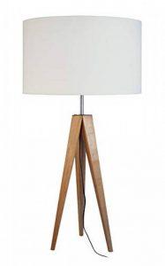 Tosel 63611 Structure Lampe Tissue, Bois Hêtre Massif, Abat-Jour Coton, E27, 40 W, Naturel, 30 x 56 cm de la marque Tosel image 0 produit