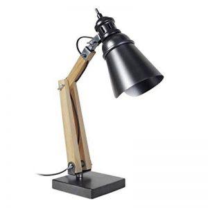 Tosel 90286 Armature Abat-Jour. Métal, Bois Merisier, tôle Acier, Peinture époxy, E27, 40 W, Noir/Anthracite, 15 x 66 cm de la marque Tosel image 0 produit