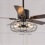TOYM UK Ventilateur de 52 pouces Loft Lustre de ventilateur industriel Rétro Restaurant américain avec ventilateur muet Lustre à feuilles de bois à la maison de la marque Fan lights image 2 produit