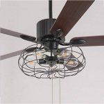 TOYM UK Ventilateur de 52 pouces Loft Lustre de ventilateur industriel Rétro Restaurant américain avec ventilateur muet Lustre à feuilles de bois à la maison de la marque Fan lights image 1 produit
