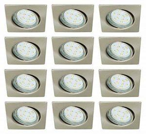 Trango 12er Jeu de projecteurs encastrés carrés LED Acier inoxydable look TG6729-122SB inclus 12 ampoules GU10 LED éclairage encastré Plafonniers pivotants de la marque TRANGO image 0 produit