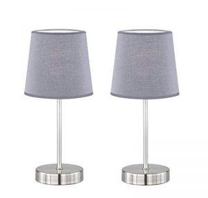 """Trango 2 pack lampe de table Lampe de chevet lampe de bureau Lampe """"Gray"""" avec abat-jour en tissu gris 2TG2017-08G de la marque Trango image 0 produit"""
