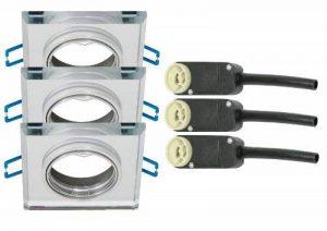 Trango® 3x tg6729s-3carré acier Luxe Design plafonniers aluminium et verre stahler Miroir lumineux encastrés GU10orientable 230V de la marque Trango image 0 produit