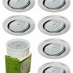 Trango® 6x Spot LED encastrable encastrables dans rond incl. 6x LED 6W Module seulement 3cm Profondeur de Montage, TG6729-069MO Aluminum, GX24q-1 2 3 4 6.0 watts 230.00 volts de la marque Trango image 1 produit