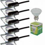 Trango® 6x tg6729s ai-6b carré acier Luxe Design Spot Aluminium et verre miroir avec 6x GU103W Power LED SMD encastrables plafonniers orientable 230V de la marque Trango image 1 produit