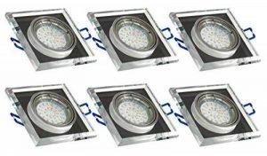 Trango® 6x tg6729s ai-6b carré acier Luxe Design Spot Aluminium et verre miroir avec 6x GU103W Power LED SMD encastrables plafonniers orientable 230V de la marque Trango image 0 produit