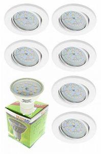 Trango 6er Ensemble de projecteurs encastrés à LED Spots de plafond encastrés Plafonniers TG6729-069S-6W en acier inoxydable carré incluant 6 ampoules LED GU10 de la marque Trango image 0 produit