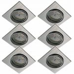 Trango ensemble de 6 downlights à encastrer à LED ultra-plats encastrés en alliage d'aluminium carré TG6729-069SMOSD avec module LED dimmable 6x seulement profondeur d'installation de 30mm directement 230V de la marque TRANGO image 1 produit