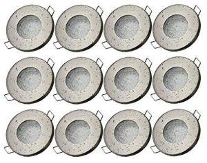 Trango Lot de 12IP44spot nickel mat tg6729ip 122B Bain/Douche/de sauna avec douille 12x GU103W Ampoule LED 3000K W de blanc & Leuchten encastrable en acier inoxydable laqué inoxydable de la marque Trango image 0 produit