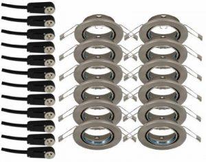 Trango Lot de 12Spot Nickel mat imitation inox ronde) tg6729–122Boîte de raccordement avec sécurité GU10230V de la marque Trango image 0 produit