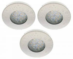 Trango lot de 3 spot ® blanc iP44–tG6729IP 036–6WC douche/salle de bain/sauna 3 x ampoule lED gU10 6 w 3000 k & suivant inox encastrables orientables en acier inoxydable en acier inoxydable laqué de la marque Trango image 0 produit