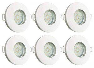 Trango Lot de 6 spotsIP44pour salle de bain/douche/Sauna avec6x ampoules LED GU103W de 3000K, blanc chaud, Weiß Tg6729ip-066b, GU10 3.00W 230.00V de la marque Trango image 0 produit