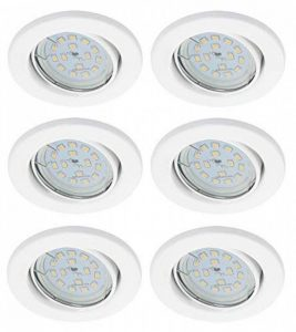 Trango Lot de 6spots LED encastrables de forme rondeAvec 6modules LED de 6W à intensité variable Profondeur d'encastrement: 3cm, Plastique, Weiß, LED Modul 6.00watts 230.00volts de la marque Trango image 0 produit