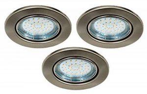Trango Spot LED encastrable Look acier inoxydable dans rond tg6729-0X XB +GU103W Power LED SMD encastrables plafonniers orientable 230V, 3er Set, GU10 3.0watts de la marque Trango image 0 produit