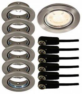 Trango® TG6729-062 Lot de 6 spots encastrés en nickel mat (aspect acier inoxydable) avec boîte de jonction de sécurité GU10 de la marque Trango image 0 produit