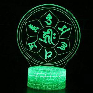 Tsqqst Taoist Taiji Bagua Totem 3D Petite Nuit Lumière Usb Stéréo Led Lampe, Accueil Choi Choi Ville Catastrophe Ouverture Fengshui Lampe Télécommande Colorée, Six Mot Daming Mantra de la marque Tsqqst image 0 produit