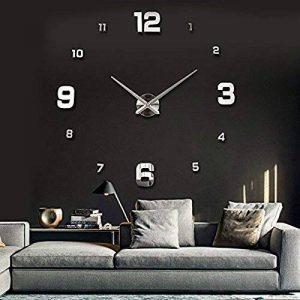 UBAYMAX Grande Horloge Murale 3D Silencieuse, Pendule Moderne Design, Métallique Pendule Murale Home Office Décoration Amovible DIY Numérique en Acrylique de la marque UBAYMAX image 0 produit