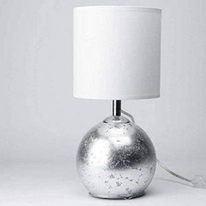 Une lampe de table avec corps (Feuille Argent Effet lumineux, 1x G9/E14, interrupteur à bascule, abat-jour en tissu) bauchige Lampe de table d'appoint Lampe pour chambre à coucher salon Leuchten intérieur de la marque Licht-Erlebnisse image 0 produit