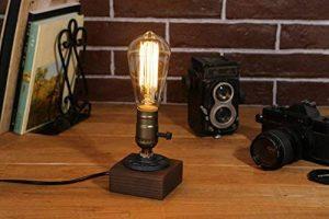 [Updated] Rétro Industrielle Edison Lampe de Table en Bois et Métal Culot E27 Lampe de Bureau Chevet Chambre Café Bar Restaurent de la marque AZX image 0 produit