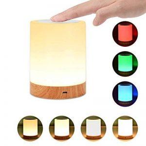 Veilleuse Bébé, Comkes Lampe de Chevet LED Tactile Sensitive Veilleuse de Nuit avec 4 Niveaux de Lumière Blanche Réglable et Changement de 256 Couleurs RGB,2800K-3100K de la marque Comkes image 0 produit