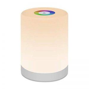 Veilleuse LED,FiDi Tek Lampe avec Contrôle Tactile à 360°, Lampe de Table avec 3 Niveaux de Lumière Blanche Réglable et Changement de 256 Couleurs RGB de la marque FiDi Tek image 0 produit