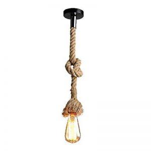 Vente chaude! Lustre corde de chanvre AC 220V E27 Vintage Style Rustique Luminaire Rétro Lampe Suspension en Corde pour Restaurant Bar Cafe Lighting Utilisation ( douille unique, ampoule n'est pas inclus ) (1m) de la marque Chao Zan image 0 produit