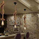 Vente chaude! Lustre corde de chanvre AC 220V E27 Vintage Style Rustique Luminaire Rétro Lampe Suspension en Corde pour Restaurant Bar Cafe Lighting Utilisation ( douille unique, ampoule n'est pas inclus ) (1m) de la marque Chao Zan image 1 produit
