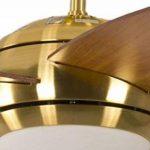Ventilateur de plafond Réversible Melton Laiton 132 cm avec Eclairage et Télécommande, Pâles Miel Érable de la marque Pepeo GmbH image 2 produit