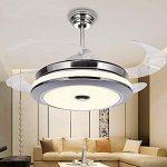 Ventilateur de plafond silencieux avec 4 lames, araignée LED avec trois couleurs d'intensité, verre métallique, télécommande (42 pouces, 107 cm) [classe d'efficacité énergétique A +++] de la marque XINLEE image 2 produit