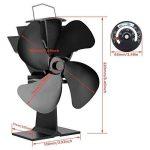 Ventilateur à poêle alimenté par la chaleur, avec 4 lames pour le bois/Brûleur à bois/Cheminée, noire, écologique, augmente l'air chaud de 80% plus que les ventilateurs à 2 lames de la marque Surophy image 1 produit