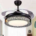 Ventilateurs de plafond en cristal de luxe Dimmable avec lumières Télécommande rétractable à 4 lames 42 pouces Éclairage intérieur en acrylique LED silencieux Ventilateur de plafond Éclairage (Noir) de la marque Lawrences image 1 produit
