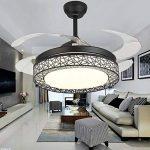 Ventilateurs de plafond en cristal de luxe Dimmable avec lumières Télécommande rétractable à 4 lames 42 pouces Éclairage intérieur en acrylique LED silencieux Ventilateur de plafond Éclairage (Noir) de la marque Lawrences image 4 produit