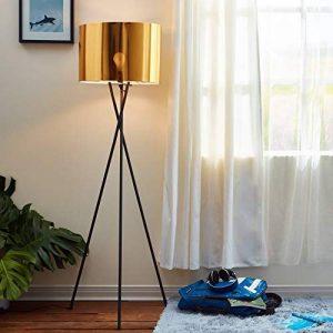 Versanora VN-L00001-EU Cara lampadaire trépied Sol Lampe sur Pied Abat-Jour doré, Fer/Plastique, 50 W, Jaune/Noir, 19.68 x 22.83 x 62.2 de la marque Versanora image 0 produit