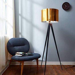 Versanora VN-L00004-EU Romanza lampadaire trépied Sol Lampe sur Pied Abat-Jour doré, Fer/Plastique, 50 W, Jaune/Noir, 19.68 x 19.68 x 60.23 de la marque Versanora image 0 produit