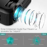 Vidéoprojecteur, projecteur ABOX A2 3000 lumens, 1080P Full HD, contraste 3000: 1, taille de l'écran 67-170 pouces, prise en charge HDMI, USB, carte SD, VGA, AV, téléphone portable, ordinateur portable, adapté à la maison et à l'extérieur Utiliser de la m image 1 produit