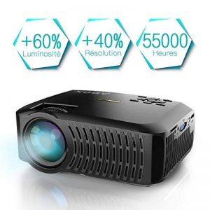 Vidéoprojecteur, projecteur ABOX A2 3000 lumens, 1080P Full HD, contraste 3000: 1, taille de l'écran 67-170 pouces, prise en charge HDMI, USB, carte SD, VGA, AV, téléphone portable, ordinateur portable, adapté à la maison et à l'extérieur Utiliser de la m image 0 produit