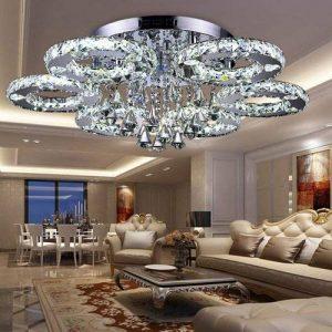 VINGO LED Lustre énergie plafonnier en cristal moderne lampe de plafond salon économie suspension réglable avec commande à distance de la marque fsders image 0 produit