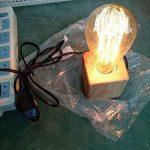 Vintage Support Douille E27 en Bois Carré Lampe de Table Avec Prise EU standard et Interrupteur, Luminaire Décoration Bureau Maison Café Bar Restaurant de la marque AZX image 4 produit