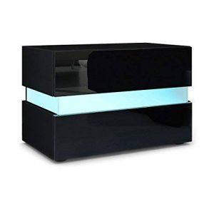 Vladon Table de Chevet Flow, Corps en Blanc Mat/Façades en Blanc Haute Brillance l'éclairage LED de la marque Vladon image 0 produit