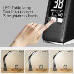 WILIT U2 5W lampe de bureau LED, lampe de chevet avec écran dimmable, lampe de table avec réveil, calendrier, affichage de la température, 3 niveaux de luminosité, contrôle tactile, noir de la marque WILIT image 2 produit