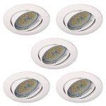 wonderlamp Basic w-e000104Pack de spots encastrables ronds avec douille gU10, blanc, 8.5x 1.5cm, lot de 5 de la marque Wonderlamp image 1 produit