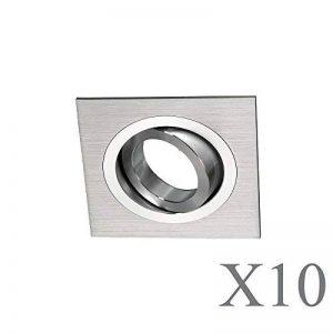 wonderlamp classic w-e000110Pack de spots encastrables carrés avec douille gU10, gris, 9x 2.5cm, lot de 10 de la marque Wonderlamp image 0 produit